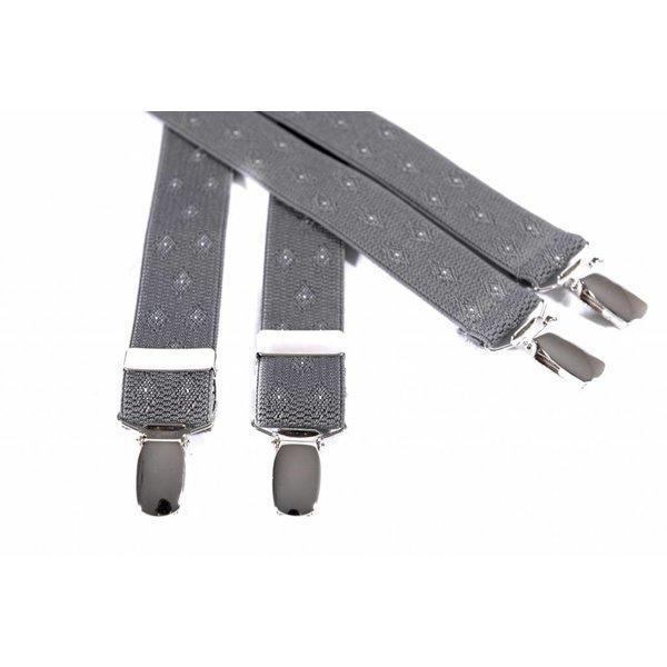 Smalle grijze bretels met mooi dessin