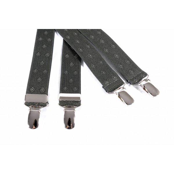 Smalle donkergroene bretels met mooi dessin