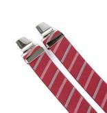 Pierre Mouton Brede bordeaux gestreepte Bretels - extra sterke clips