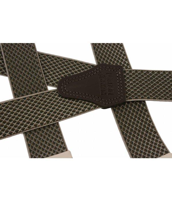Pierre Mouton Brede grijs-groene Bretels - extra sterke clips
