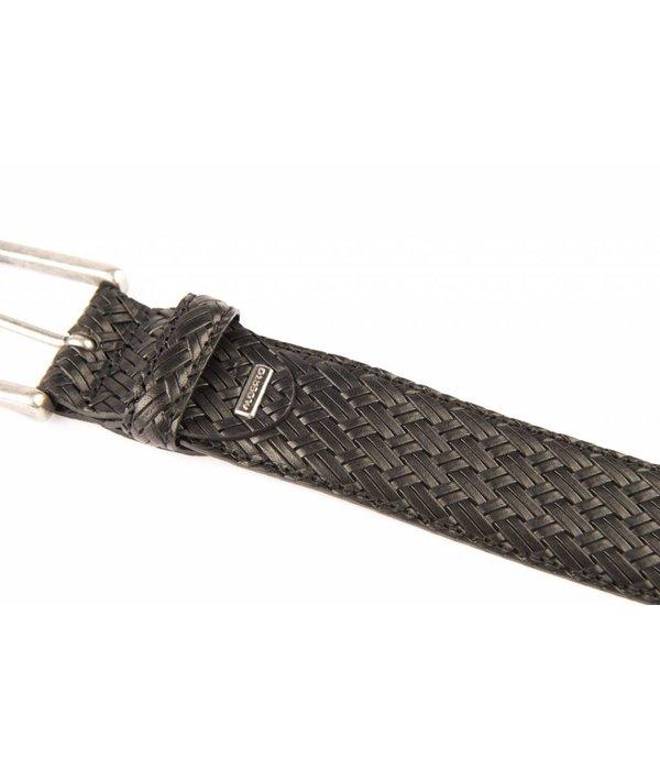 Alberto riemen Mooie zwarte vlechtlook riem met old-look zilveren gesp