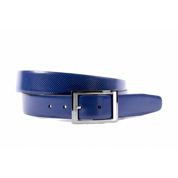 Luxe reversible riem zwart - blauw