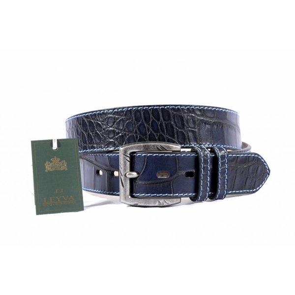 Luxe blauwe riem met stoere croco structuur
