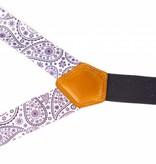 Leyva Luxe witte bretels met fraai paars dessin