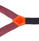 Leyva Luxe blauwe bretels met fraai rood dessin