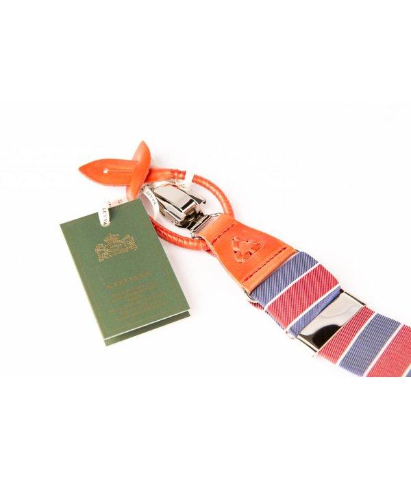 Leyva Luxe gestreepte bretels, exclusief met leer afgewerkt