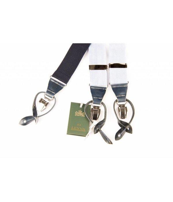 Leyva Luxe brede lichtblauwe velours Bretels - patten & clips