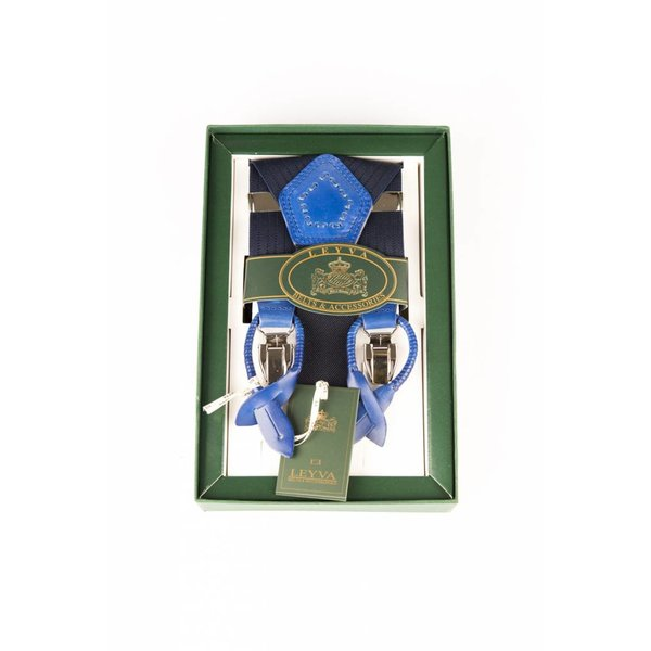 Luxe blauwe bretels, exclusief met blauw leer afgewerkt