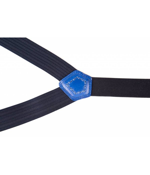 Leyva Luxe blauwe bretels, exclusief met blauw leer afgewerkt