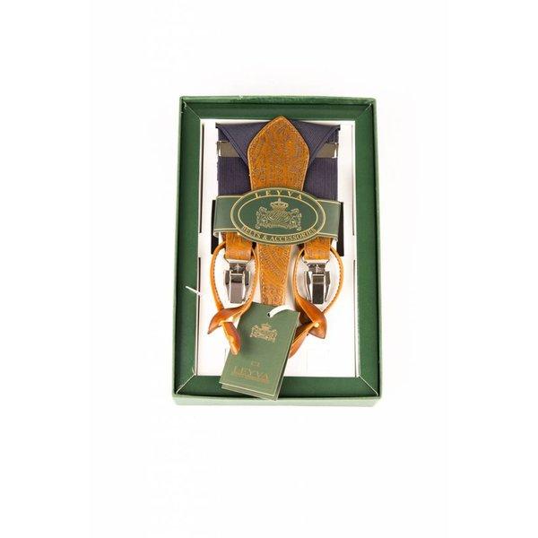 Luxe gemeleerde bretels, exclusief met leer afgewerkt