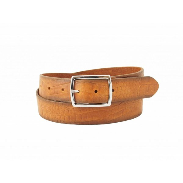Stijlvolle fairtrade cognac croco damesriem