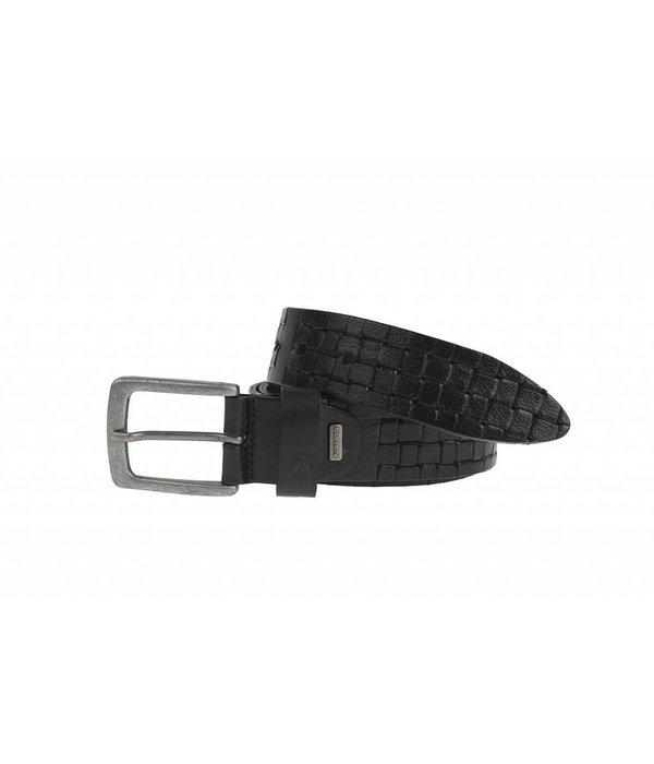 Alberto riemen Stoere zwarte casual riem met gevlochten embossing