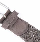Alberto riemen Unieke bruine riem met leuke combinatie van materialen