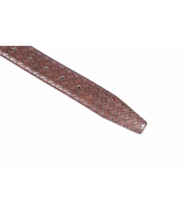 Alberto riemen Stijlvolle bruine pantalonriem met ruit dessin
