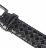 Alberto riemen Stijlvolle zwarte pantalonriem met ruit dessin
