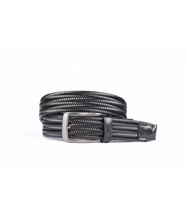 Alberto riemen Zwarte elastische riem van hoogwaardig leer