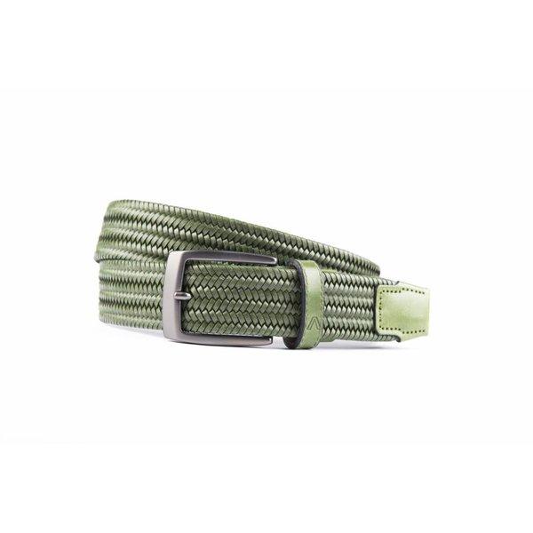Groene elastische riem van hoogwaardig leer