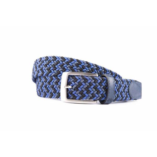 Vrolijke blauwe multicolor webbing riem