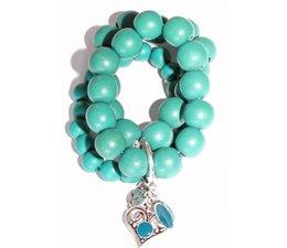 Lucky Boeddha Türkis-Armband mit Herz
