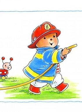 Stickerkids muursticker Baby Bobbi als brandweer SRKMM002