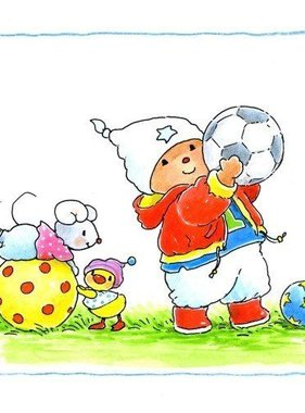 Stickerkids muursticker Baby Bobbi als voetballer SRKMM004