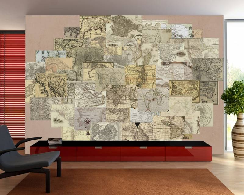 1Wall 1Wall fotobehang Creative Collage Vintage Maps