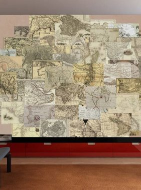 1Wall fotobehang Creative Collage Vintage Maps