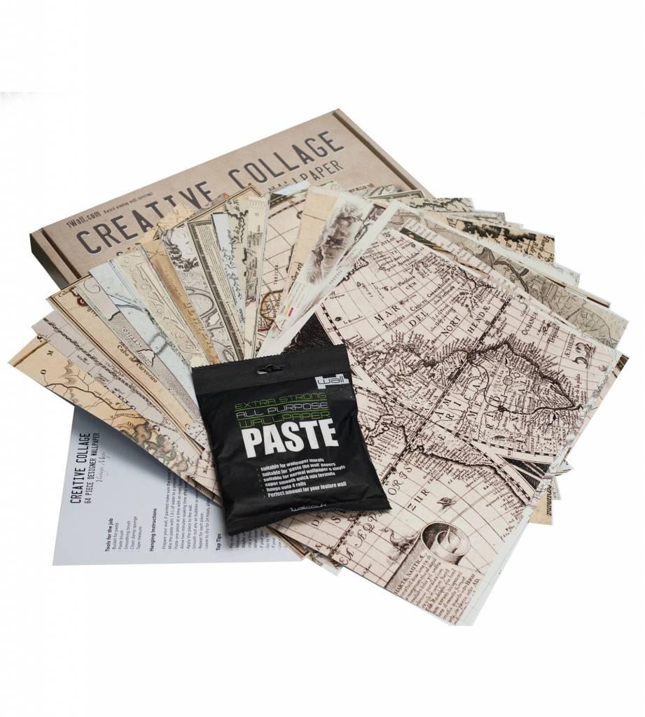 1Wall 1Wall fotobehang Creative Collage Vintage Maps