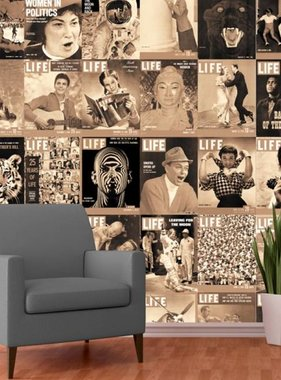 1Wall fotobehang Creative Collage Life Front Covers