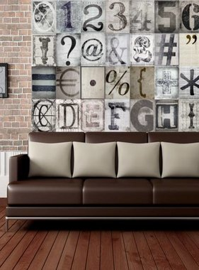 1Wall fotobehang Creative Collage Typography