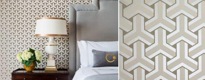Behang met geometrische patronen
