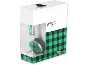 WeSC checked-banjo-blanery-green-koptelefoon