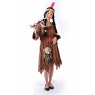 Karnevalskostüm Kinder Indianerin: Kleid Rote Feder