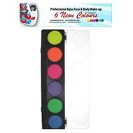 Schmink-palette aqua 6 Farben neon
