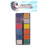 Schmink-palette aqua 12 metallic Farben