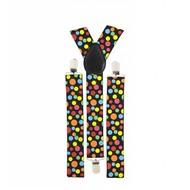 Faschings-accessoiren Hosenträger mit farbigen Punkten