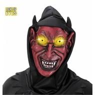 Halloweenmasken: Teufelsmaske mit Haube und leuchtendem Augen