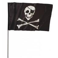 Karnevals-accessoires: Grosse Piratenfahne mit Stock