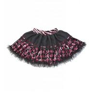 Faschingskostüme Pailletten Rock in schwarz/rosa