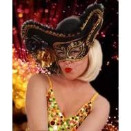 Karneval- & Fest Zubehör: Venezianer Augenmaske mit Hut (Damen en Herren)