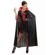 Karnevals-Kleidung: schwarze cape mit rotem Kragen 138cm