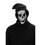Halloweenmasken: Schädelmaske mit Haube und Pailletten