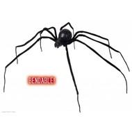 Halloween Accessoires: biegbare schwarze Spinne 110cm