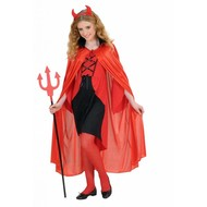 Karnevals-Kleidung Kinder: Rote cape mit schwarzem Kragen 110cm