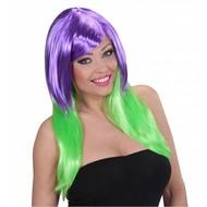 Faschings-zubehör Zweifarbige Perücke lange Haare