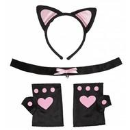Faschings-accessoiren Katzenset in rosa