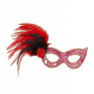 Augenmasken rot mit gold gemustert