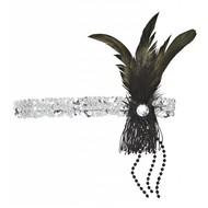 Faschingskostüme Kopfband mit Federn und Edelstein