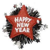 Sylvester-accessoires Rote Brosche Happy New Year
