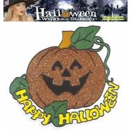 Halloweenaccessoires: Fenster-aufkleber Kürbis (25 cm)